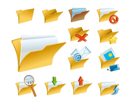A set of the folder icons for computer e-mail or forums on white background. (contain the Clipping Path of all objects)  photo