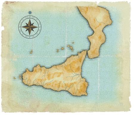 old times: Stilized moderna en los viejos tiempos del mapa de Sicilia Foto de archivo