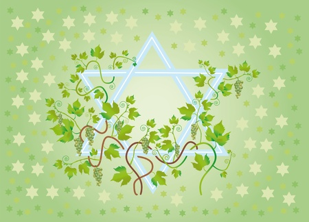 The star of David is twined the vine of vine, as a wish of longevity, riches and many children. Stock Photo - 9530299