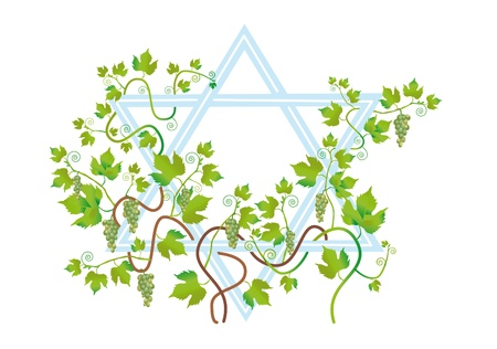 longevity: The star of David is twined the vine of vine, as a wish of longevity, riches and many children. Stock Photo
