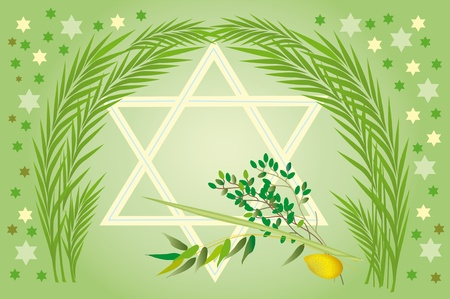 etoile juive: Il est admis de donner tous les quatre types de plantes, dont chacun symbolise le type de certain personnes. Loulav et Etrog