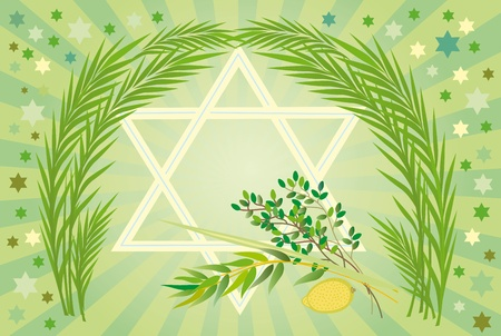 true myrtle: It is accepted to give all four types of plants each of which symbolizes the certain type of people. Lulav and Etrog Stock Photo