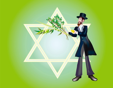 sukkoth festival: It is accepted to give all four types of plants, each of which symbolizes the certain type of people. Lulav and Etrog  Stock Photo