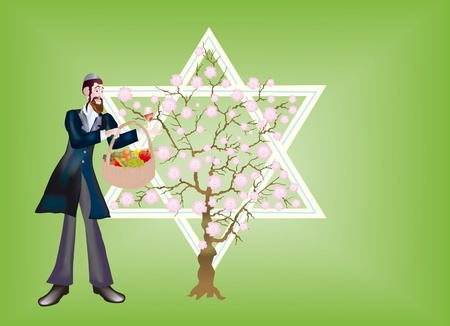 zionism: A postal is sacred to the holiday Tu bi-Shvat. Celebration gap-filling mystic sense of �fruit sedera That bi-Shvat� strengthened connection of jewries with Erec-Israel and accented thirst of returning to it. Stock Photo