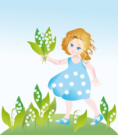 Little girl with the bouquet of lilies of the valley on a lawn photo