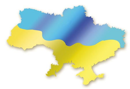 A map of Ukraine in flags image on white background