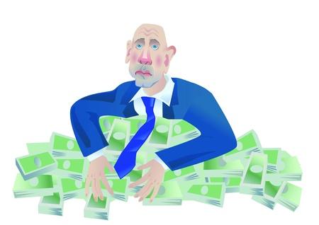 avid: avid man on the large pile of monies