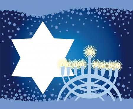 Abstract background from the stars of David and Menorah photo