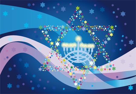 Abstract background from the stars of David and Menorah Stock Photo - 10527651