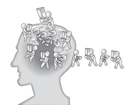 의식, 교반에 두뇌에 영향을 세척의 개념 스톡 콘텐츠