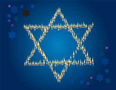 testaments: Star of David from conflagrant candles on a dark blue background Stock Photo
