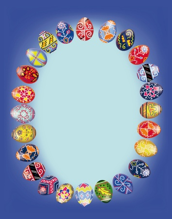 Postal to Easter with easter  eggs laid out in form oval on a dark blue background  Stock Photo