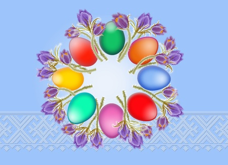 consuetude: Easter eggs and springs flowers are laid out around on a blue background