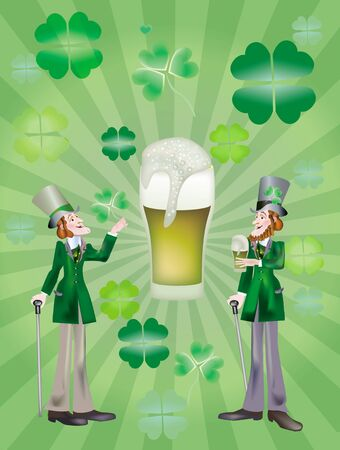 consuetude: Two solid men with glasses of beer for a health sainted Patrick