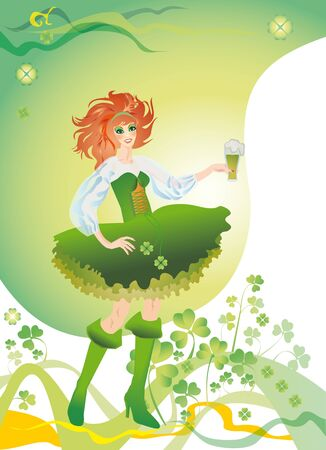 Green-yellow background with a clover and girl in a green suit and glass from green beer (fairy of clover) photo