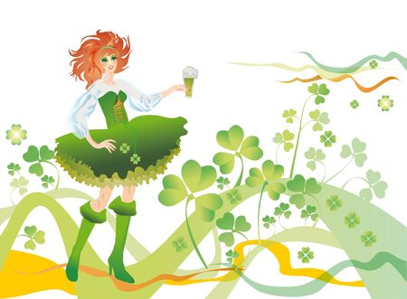 Green-yellow background with a clover and girl in a green suit and glass from green beer (fairy of clover) Stock Photo - 10996271