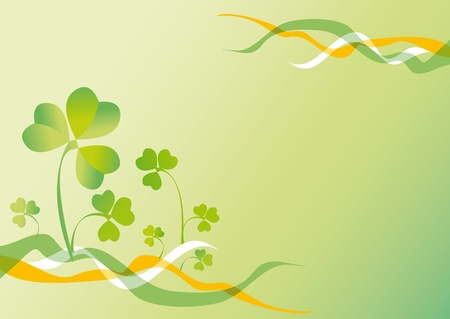 background to the holiday st patrick's day with the leaves of clover and ribbons of colors of Ireland Stock Photo - 10996269