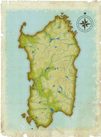 Modern age-old map of Sardinia