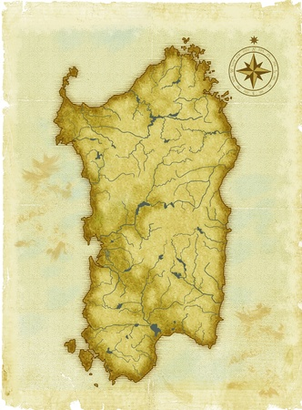 sardaigne: Moderne s�culaire carte de la Sardaigne