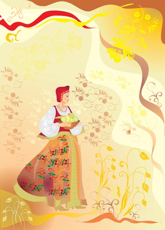 A girl in age-old folk clothes marks the holiday of harvest photo