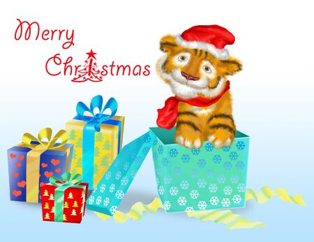 tiger cub: B�b� Tigre symbole des ann�es 2010 � c�t� de cadeaux
