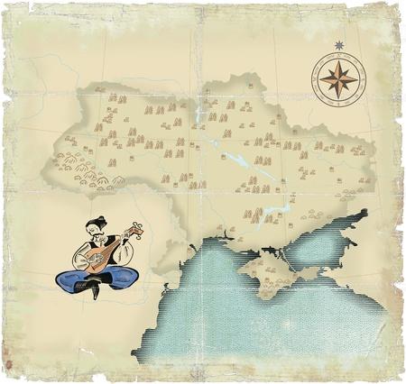 old times: Estilo en los viejos tiempos de mapa de Ucrania en los �mbitos modernos con jugar en la bandurria de Kozak Foto de archivo