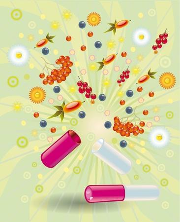 Vitamine naturali di frutti di bosco e frutta che entrano nel complemento di pillola