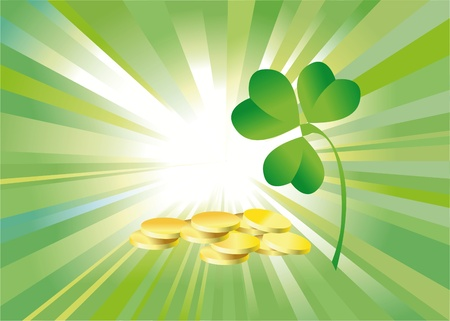 background to the holiday st patricks day with the leaves of clover photo