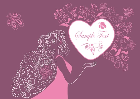 romantic floral background with a heart Stock Photo - 11737921