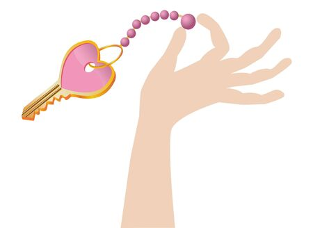 a hand holds the key in form heart Stock Photo
