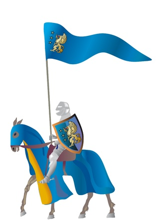 Equestrian knight with flags in a parade vestment on a white background