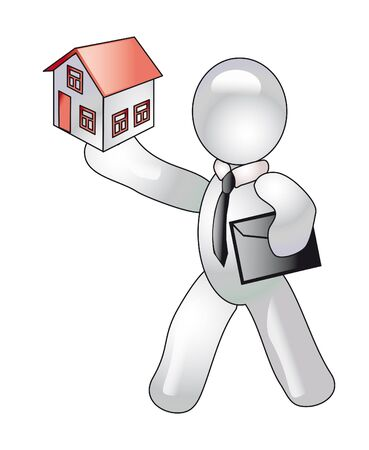 immovable property: a manikin holds a cottage. (contain the Clipping Path of all objects)