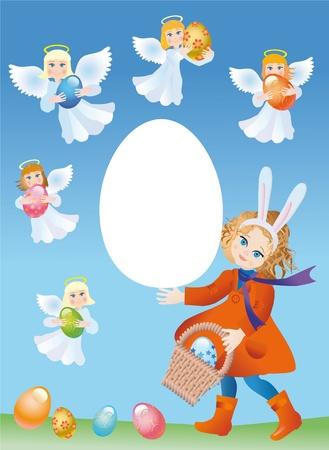 Fille dans le costume du lapin de Pâques et chérubins avec le oeufs de Pâques Banque d'images - 11737973