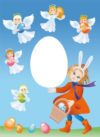 Girl in the suit of the Easter rabbit and cherubs with the Easter eggs photo