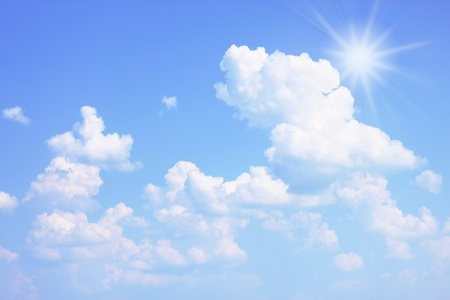 Bright summer sky with a sun Stock Photo