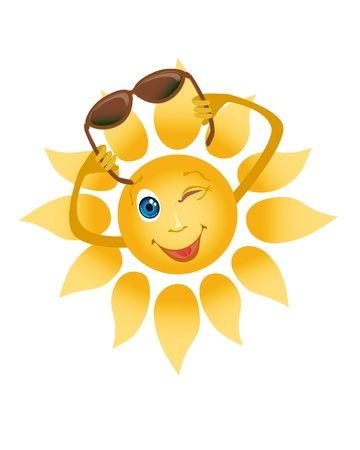 Picture of a happily smiling sun on a white background Stock Photo