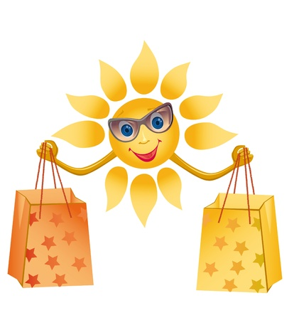 Picture of a happily smiling sun on a white background (contain the Clipping Path of all objects) Stock Photo