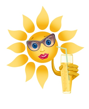 appease: Picture of a happily smiling sun on a white background (contain the Clipping Path of all objects) Stock Photo