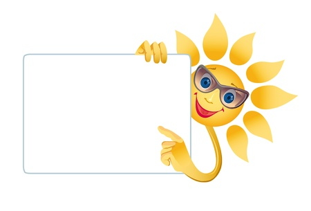 Picture of a happily smiling sun on a white background (contain the Clipping Path of all objects) Stock Photo - 11738089