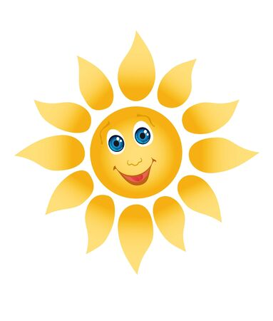 Picture of a happily smiling sun on a white background photo