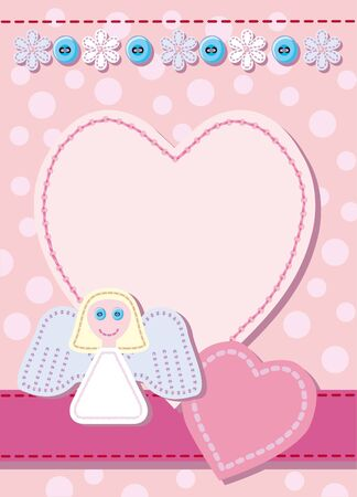 angel birthday: Quilted birth announcement card for a girl