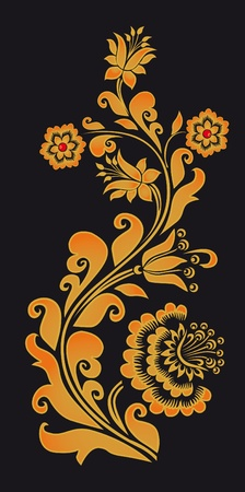 floral objects: Ornament in style of Russian national tradition.