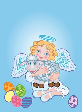 paschal lamb: Background for the easter congratulating on an angel and sheep Stock Photo