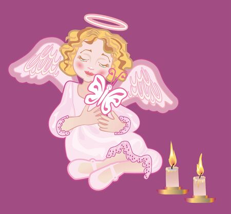 Angel holds a butterfly ( symbol of the dying soul) next to conflagrant candles photo