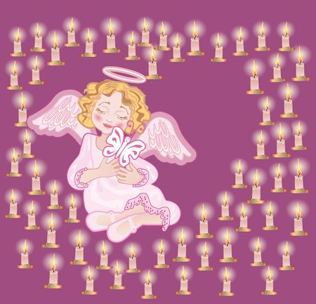 angel cemetery: Angel holds a butterfly ( symbol of the dying soul) next to conflagrant candles
