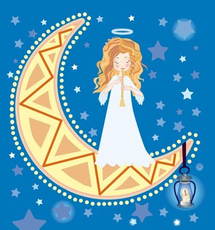 zampona: Ilustración de angelito dulce con Cuerno Foto de archivo