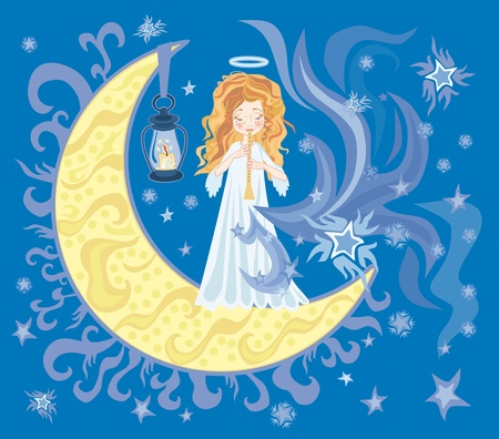 lullaby: Illustration of little sweet angel with Horn