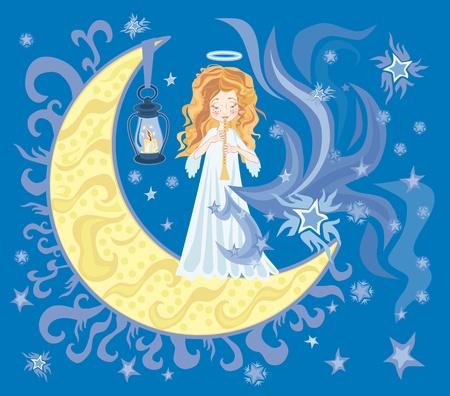 pipe dream: Ilustraci�n de angelito dulce con Cuerno Foto de archivo