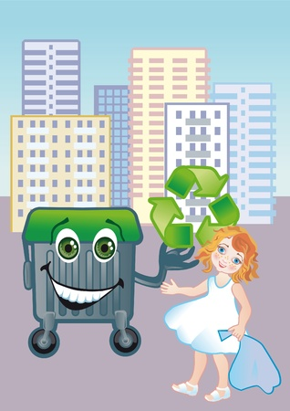 throw up: A girl throws out garbage in the container of the second processing of resources Stock Photo