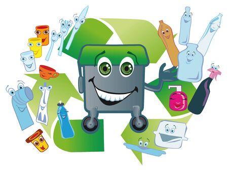 gladly: Embalaje de pl�stico que se utiliza con mucho gusto ir en un tanque para la recogida selectiva de basura en un cartel de fondo de la segunda transformaci�n Foto de archivo